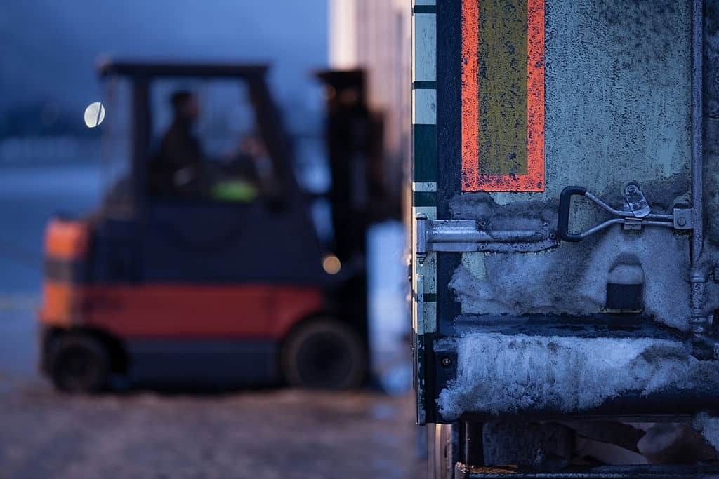 Cold weather forklift. winter.